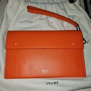 Celine Orange Leather Travel Clutch